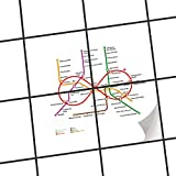 creatisto Fliesen Folie Sticker Aufkleber selbstklebend | Fliesenmosaik Dekoaufkleber Badezimmer renovieren Küche Fototapete selbstklebend | 15x15 cm Design Motiv Metro Line Infinity - Weiß - 4 Stück