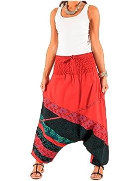 LE ORANGE MOON Pantalones Harem para Mujer - Liso/Estampada - Rojo/Multicolor - Algodón - S/M