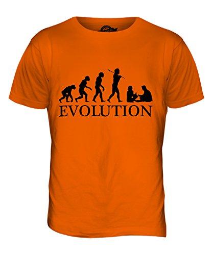 CandyMix Spielkarte Kartenspielen Evolution Des Menschen Herren T Shirt Orange
