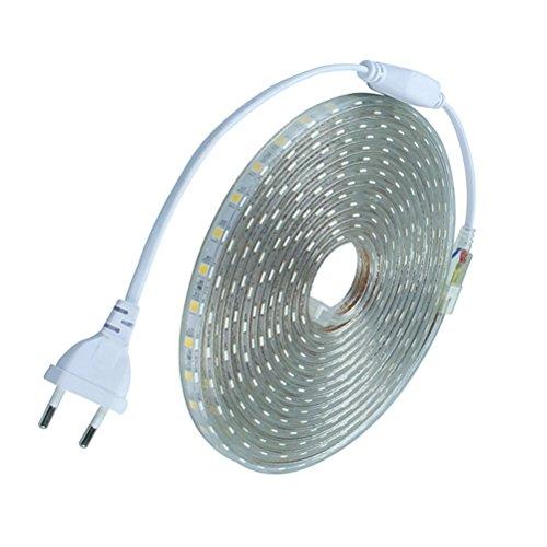 LEDMOMO Bett Licht Streifen leuchten Wasserdichte 220V LED Band Dekoration 3M (Rein Weiß)