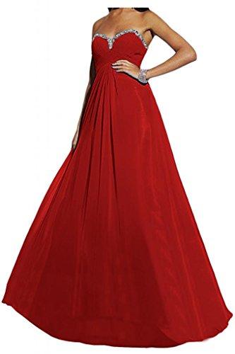 Toscana sposa elegante completamente a forma di cuore Chiffon sera abito lungo sposa giovane lontano Party Ball Bete vestimento Rot