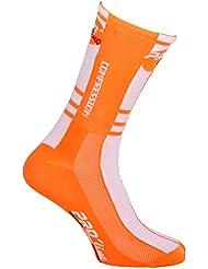 Calcetines ciclismo Proline blanco naranja Compression Cycling Socks 1par