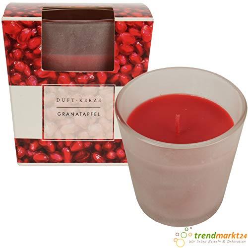 trendmarkt24 Edel-Duft-Kerze/Duftkerze Granatapfel im satiniertem Glas 22-25 h Brenndauer rot ca. 8 cm groß exklusiver Kerzen-Duft Raumdüft für Innen 100% Paraffin 391024-A - Granatapfel Kerze Duft