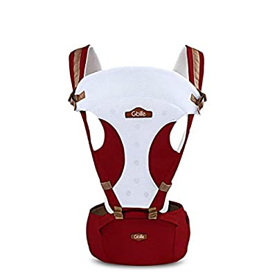 Baby Carrier Adjustable Multifunction 5 Possibilities New Design with Portable Seat Cotton Breathable for Newborn Toddlers (Red)