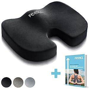 feela.® Orthopädisches Sitzkissen zur Entlastung von Bandscheiben und gegen Rückenschmerzen - Ergonomisches Sitzkissen für Bürostuhl I Rollstuhl sowie Steißbein-Entlastung inkl. E-Book (Schwarz)