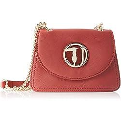 Trussardi Jeans Sophie Cacciatora SM Ecoleathe, Borsa a Tracolla Donna, Rosso (Garnet), 6x16x22 cm (W x H x L)