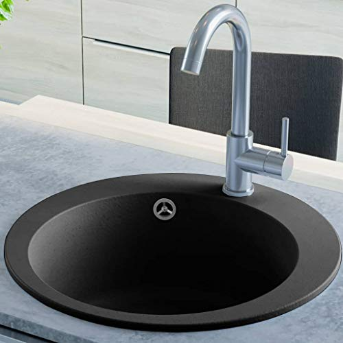 Festnight Granitspüle Einzelbecken | Rund Küchenspüle | Einbauspüle Spülbecken Spüle | Schwarz Granit 1-Becken