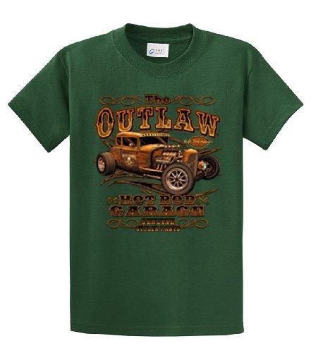Hot Rod Garage-Maglietta Outlaw Stolen Parts Verde foresta Large