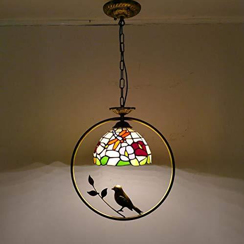 GDLight Vintage Tiffany Style Libelle Pendelleuchte Floral Glasmalerei Insel Licht Eisen Vogel Hängelampe für Kinderzimmer Küche, E27 -