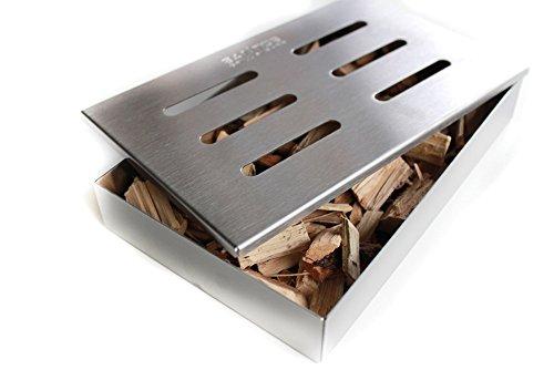 41Q4gm XTFL - Santos Smokerbox Räucherbox Edelstahl Grillzubehör für Gasgrill, Kohlegrill und Kugelgrill  Aromabox Maße 21x13x3,4 cm