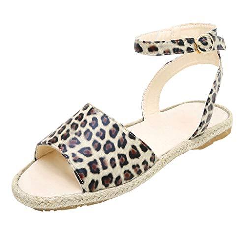 Damen Sommer Sandaletten Flachen Frauen Knöchelriemchen Leopardenmuster Plateau Flip Flop Sommersandalen Bequeme Elegante Schuhe