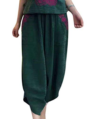 Youlee Donna Estate Gamba Larga Pantaloni con Tasche Verde