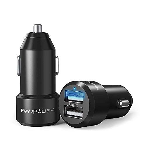 RAVPower 2 Pack Extra-Mini Alluminio Caricabatterie Auto 2 Porte, 24W 4.8A, Caricatore USB Universale con Tecnologia iSmart per iPhone 8 X 7 6s 6 Plus iPad Mini Air, Galaxy S7 S6 Edge Plus ect.