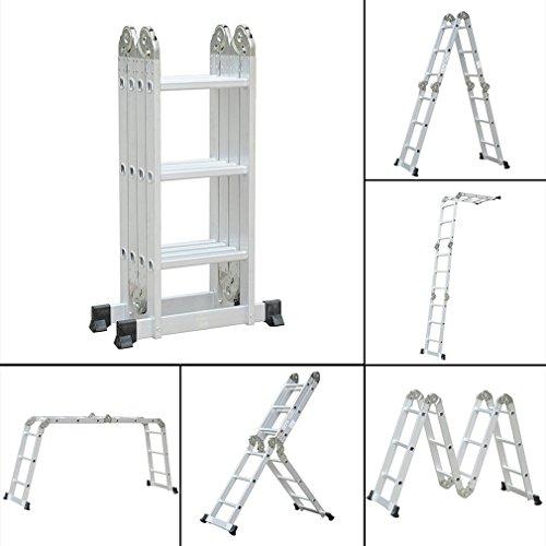 6 in 1 3.6M Anlegeleiter Multifunktionsleiter Mehrzweckleiter Aluminium Verstellbar Klappleiter Gelenkleiter Leiter Stehleiter Leitergerüst Arbeitsbühne 12 Stufen 150 kg Belastbarkeit