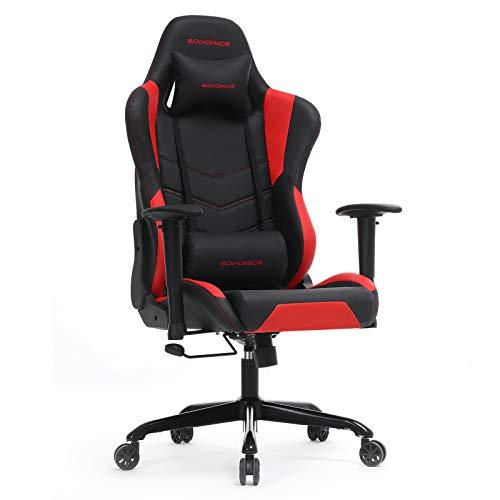 SONGMICS Gamingstuhl, höhenverstellbarer Racing Chair, Schreibtischstuhl mit Kopfstütze und Lendenkissen, 2D Armlehnen, Wippfunktion, 150 Grad Neigungswinkel, Kunstleder, Schwarz-Rot RCG12BR