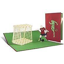 H04 Tarjeta de felicitación cumpleaños niños diseño fútbol desplecable de calidad hecho a mano