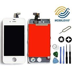 Mobilevie Ecran LCD Retina + Vitre Tactile sur châssis pour Iphone 4s Blanc + Outils