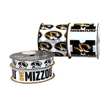Zipperstop (Ship From USA) Offray University of Missouri Tigers Printed Craft Ribbon Pack, 12-Yard / 9/16-Inch by 3 yards; 7/8-inch by 3 yards and two spools 2-1/2-inch by 3 yards each, Made from 100-percent