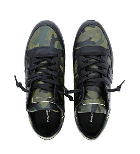 Philippe Model Basket Tropez en Peau Noire et Camouflage Vert