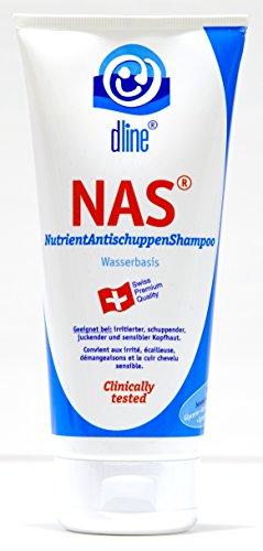 dline NAS-NutrientAntischuppenShampoo 200ml, für irritierte schuppende juckene sensible Kopfhaut und Haare, revitalisierendes Pflegeshampoo mit Koffein für Haarwachstum, 1 Tube (1 x 200 ml)