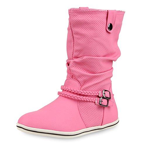 SCARPE VITA Bequeme Damen Stiefel Flache Schlupfstiefel Boots 160434 Pink Nieten 39