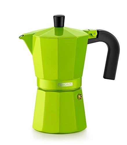 Monix Lima Cafetera Italiana, Capacidad 3 Tazas, Aluminio, Verde, 9 cm