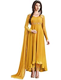 Pk Fashion Bazar Women Georgette Embroidered Semi Stitched Long Anarkali Suit(PKFSN10478_Yellow_Free Size)