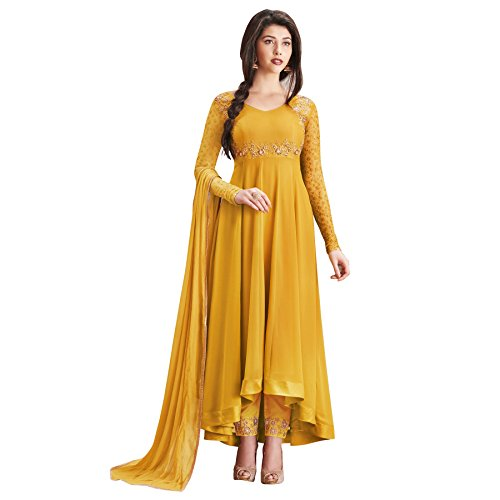 Aryan Fashion Women Designer Georgette Embroidered Semi Stitched Long Anarkali Suit(ERTY10478_Yellow_Free Size)  available at amazon for Rs.1649