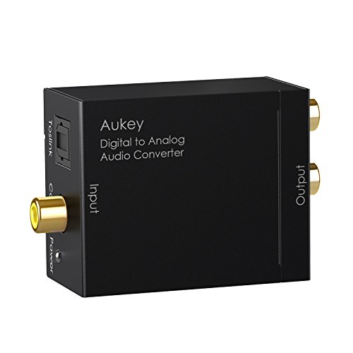 AUKEY Audio Konverter Digital auf Analog Audio Wandler Digital Koaxial Optischer Toslink Signal zu Audio L/R für Blu-ray-DVD, HDTV, PS4, PS3, X-Box usw. (New)
