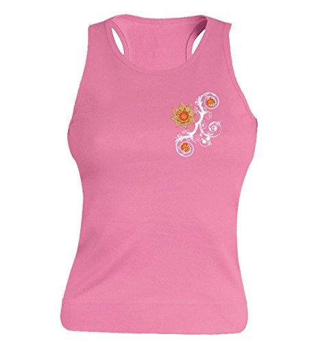 """T-shirt Femme 100% Coton - """"Ptite fleur jaune"""" - Sans Manches Rose"""