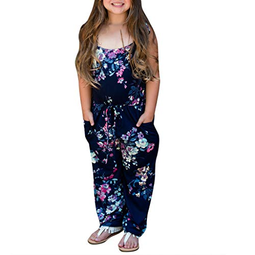 Familie Kleidung Mama, ich Kind Mädchen Sling ärmellose Tasche Blumendruck rückenfreier Overall