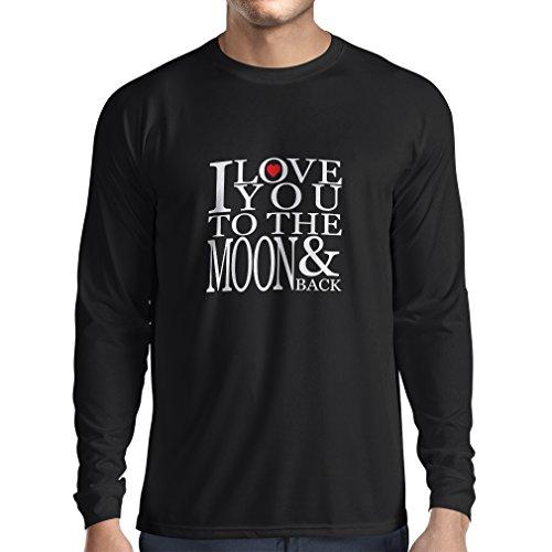 T-Shirt mit langen Ärmeln Ich liebe dich zum Mond und zurück zu lieben T-Shirt, große Valentinstag Geschenk Schwarz Fluoreszierend