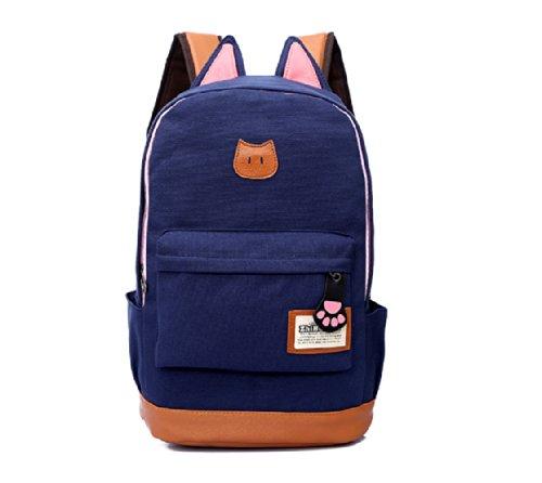 Fashion Plaza super süß Katze Ohre Design Canvas Rucksack Rucksäcke für Mädchen Schuler Kinder in der Schule mehrere Farben C5004 (dunkel blau)