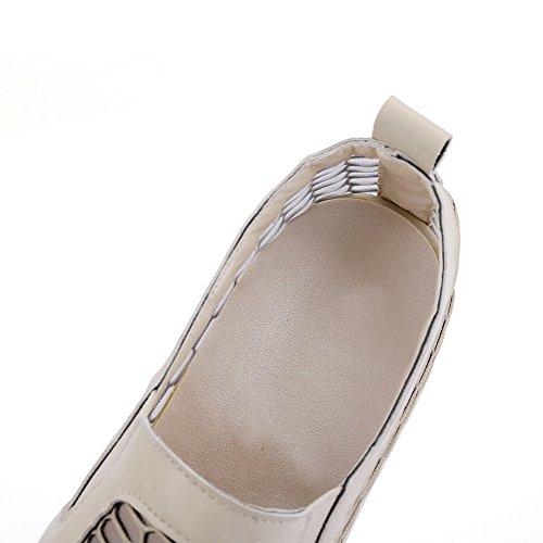 VogueZone009 Femme Rond Tire Matière Mélangee Couleur Unie à Talon Correct Chaussures Légeres Beige