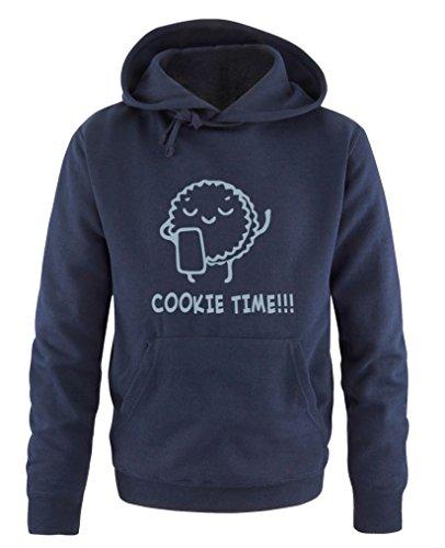 Comedy Shirts - Cookie time! Keks - Herren Hoodie - Navy/Eisblau Gr. XXL - Cookies Wanderer