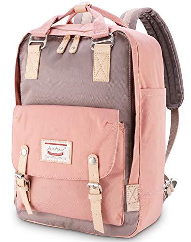 Rucksack für Mädchen Rosa und Grau, ONKING Premium Langlebiger Rucksack Damen Schulrucksack Wasserdicht Tasche - Perfekt für Tablets 13''~17''-Laptops