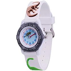WOLFTEETH Analog Grade School niño pequeño Reloj de Pulsera con la Mano de 3D Dinosaurio Correa Blanca Dial Resistente al Agua Reloj de Pulsera de niño Blanco 305904