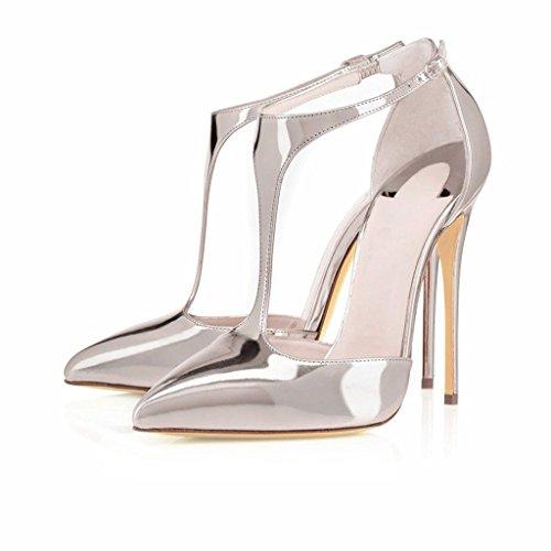 EDEFS Scarpe col Tacco Donna,Sandali con Cinturino alla Caviglia Donna,Scarpe con Chiusura a T Donna Argento