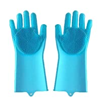 Tonglisen Nice Magic Silicone Cleaning Dishwashing Gloves Reusable Thicken Scrubber Cleaning Gloves Heat Resistant Cleaning Gloves(Blue)