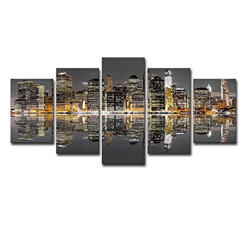 ChuangYing Modernes Sofa Hintergrund Wand Dekoration Malerei High-Rise Gebäude Nacht Plakat -