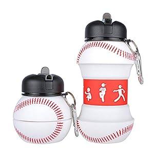 41Q4oMoI23L. SS300 Mude-Borraccia Baseball-550 millilitri-Divertente e Indistruttibile, In Silicone Apribile e Richiudibile, Antigoccia…
