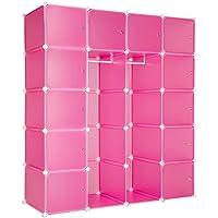 TecTake Estantería de plastico modular armario cuadrados ropero organizador con barra de colgar - disponible en diferentes colores - (Rosa | No. 402089)