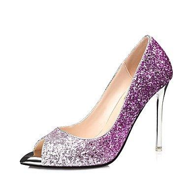 LFNLYX Frauen Fersen Frühling Sommer Fall Club Schuhe Synthetische Hochzeitsfeier & Abendkleid Stiletto Ferse Sequin Blue Purple Red Gold Red