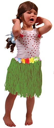 Lady Bat Kostüm Kinder - Folat 20501 - Hawaii Rock - Bastrock - Ideal für Themenparty - ca. 30 cm lang - grün