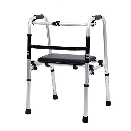 SXFYMWY Falten tragbare leichte Walker-Adjustable Höhe mit 90 Grad Flip Kissen für Senioren Erwachsene Senioren Behinderte,A