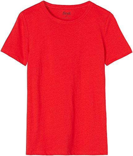 FIND Damen T-Shirt Crew Neck Rot, 36 (Herstellergröße: Small)