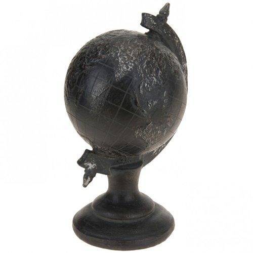 Deko Globus auf Fuß Ø12cm schwarz antikfinish Erdkugel Dekoration