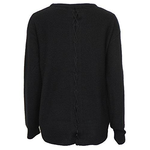 femmes tricot Brave Soul femmes tricoté lacet ourlet asymétrique PULL RAS DE COU haut Noir - 248boccab