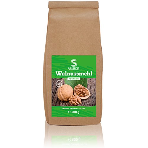 Bio Walnuss-Mehl teilentölt, glutenfrei, eiweißreich, gemahlene Walnüsse als Mehl-Alternative Low Carb Ernährung, 500 g