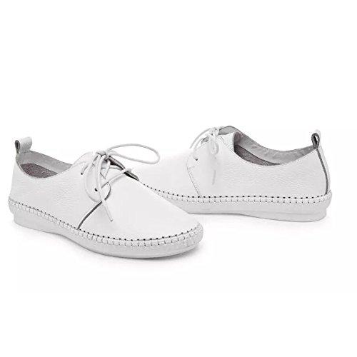 Shenn Femmes Filles Confort Authentique Cuir École Flâneurs Chaussures Doux Infirmière Appartements Chaussures Blanc